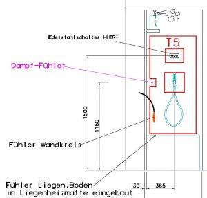 Fühlerinstallation-Dampfbad