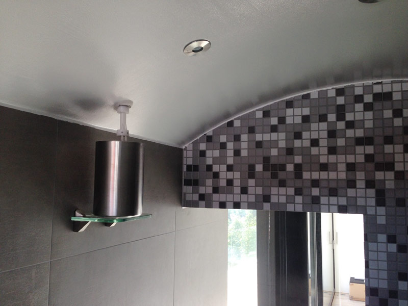brine atomizer on steam bath ceiling